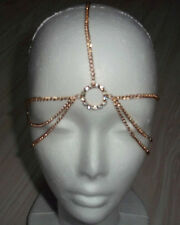 7 STRAND GOLDNESS GOLD BOHOMIAN HEAD CHAIN CRYSTAL CENTER HEAD PIECE