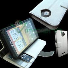 Custodia BIANCA pelle per HTC One X stand up BOOKLET libretto protezione no urti