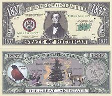 10 Michigan MI State Quarter Novelty Money Bills Lot