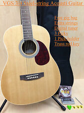 VGS Mini Acoustic Guitar D-baby Natural,3/4 Size+ Free Gig Bag, Extra String Set