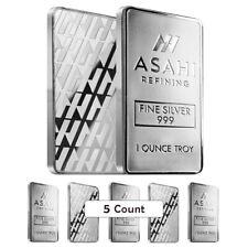 Lot of 5 - 1 oz Asahi Silver Bar .999 Fine