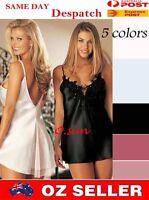 Women Sexy Lingerie Mini Dress T-Back Silk Feel Lace Babydoll Pajamas Nightgown