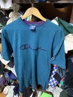 Vintage 90's Champion Single stitch  Spell Out Logo T-Shirt USA Made Sz L