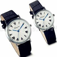 Casual Roman Numerals Dial Black Leather Band Quartz Analog Couple Wrist Watch