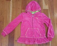 6/6X PUMA Pink Zip Up Track Jacket Velour Hooded Sweatshirt Hoodie Ruffle Green