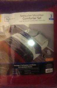 Mainstays Microfiber Bedding Comforter Set Print Seesucker Full/Queen Brand New
