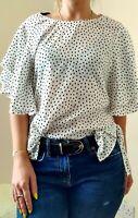 Zara White Black Star Printed Ruffled Sleeve Top Blouse Size XS 6