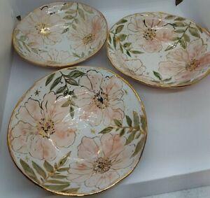 Lot of 3 Handmade Ceramic bowls by Odarya Darya from the Ukraine, Floral w/Gold