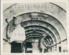 1935 Workers Apply Sound Proofing to Airplane Interior Press Photo