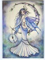 ACEO S/N L/E FAIRY CYNTHIA PURPLE GARDEN ROSES SOLSTICE CRYSTAL PRINT RARE PRINT