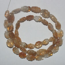 85CARTS 16'' 6x8to9x11MM NATURAL GEMSTONE CITRINE CARVED OVAL BEADS STRAND 806