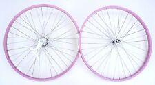 "Beach Cruiser bike 26""x1.75 Rear & Front Clincher Wheels Rims Pink"