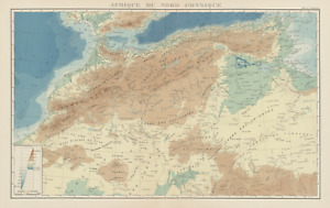 COLONIAL FRENCH NORTH AFRICA. Afrique du Nord. Physique. Physical 1929 old map