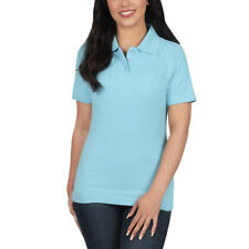 Ladies Polo Shirt Short Sleeve Womens Plain Pique Classic Top T Shirt Lot 22 - 24 Sky Blue 1 Shirt
