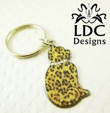 "Leopard Print ""Cat Around"" Crystal Keyring Purse Charm Key Chain FOB"