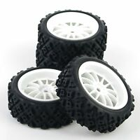 4Pcs Rubber Tires Tires & Wheel Rims Set For 1/10 RC Rally Racing Off Road Car