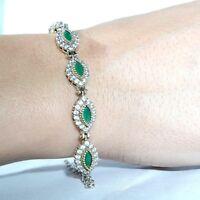 925 Sterling Silver Emerald Vintage Turkish Handmade Bracelet