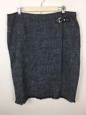 Dressbarn Tweed Pencil Skirt 16W Gray Lined Straight Front Split Side Zip