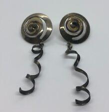 Vintage Earrings Swirl Dangle Silver Tone Dangle