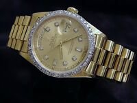 Mens Rolex Solid 18k Yellow Gold Day Date President Diamond Dial & Bezel 18038