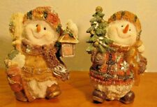 holiday snowmen couple figurines