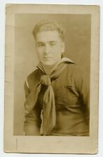 Young Man Navy ? Sailor Vintage Photo Postcard