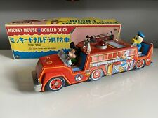 More details for japanese tinplate disney mickey mouse & donald duck fire engine boxed