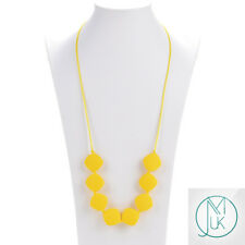 Yellow Quadrate Teething Necklace Baby Silicone Teether Autism Sensory Chew