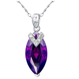 Sterling Silver Created Amethyst Marquise Pendant Necklace Gift for Women Her