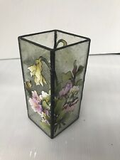 """Floral Leaded Glass Votive Candle Holder Hand-Painted Crackle Glass 6.75"""" Tall"""