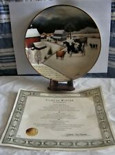Franklin Mint American Folk Art Collection Plate Lowell Herrero Cows in Winter