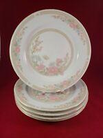 "FAIRFIELD SYMPHONY FINE CHINA  5 DINNER PLATES 10 1/2"" DIAMETER.GOLD TRIM."