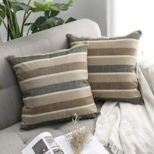 MIULEE Pack of 2  Classic Retro COFFEE BROWN Stripe Throw Pillow Covers 18 X 18