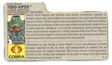 1988 Cobra Toxo Viper v.1 FILE CARD #2 gray filecard bio original GI/G.I Joe JTC