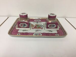 French Samson Of Paris Style Hand Painted Two Bottles Inkwell and Pen Stand Tray