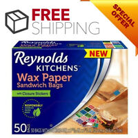 Reynolds Kitchens Wax Paper Sandwich Bags Food Storage Lunch Recycle [50 Count]