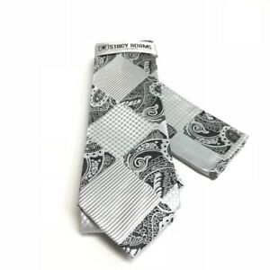 Stacy Adams Men's Tie & Hanky Set Silver Black White Microfiber Hand Made