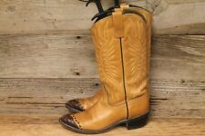 WOMENS ACME VTG BROWN LEATHER/CROCODILE PRINTTIP COWBOY/WESTERN BOOTS SZ 6.5A