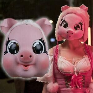 Movie Killing Eve Season 2 Killer Villanelle Cosplay Pig Mask Pink Latex Props