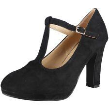 Womens T-Bar Court Plarform Shoes Ladies Faux Suede Party Buckle High Heel Size