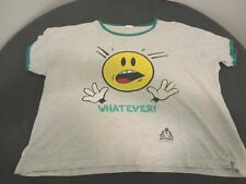 """Vintage Face-2-Face College Ware USA """"Whatever Smiley Face T-Shirt"""" Gray OSFM"""