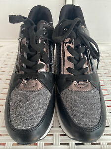 New Black & Silver Glitter Lace Up Platform Wedge Trainers Size 40EUR 6.5UK