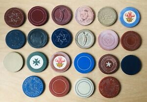 Antique crescent moon and star clay poker chips and buttons