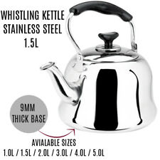 Stainless Steel Whistling Tea kettle Teapot Cookware Silver Tone 1.5L