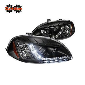For 96-98 Civic R8 Style Projector Headlights LED Black Housing