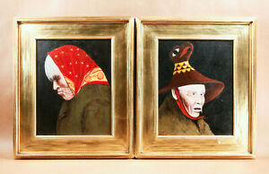Jules Dahlager Alaska Northwest Tlingit Oil Paintings Portraits In Gilt Frames!