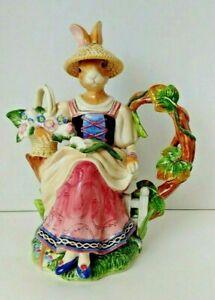 "Vintage Fitz and Floyd Classics Old World Gardening Rabbit Large Tea Pot 11 1/2"""