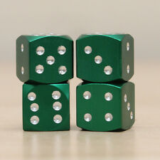 Green Metal Dice Air Car Wheel Air Tyre Valve Dust Caps Covers Wheel Set of 4