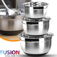 Stainless Steel Mixing Bowl 3pc Set Kitchen Serving Bowls Food Salad Non Slip