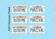 1/15 Custom License Plate Decals for Diamond Select Delorean - PARZIVAL OUTATIME